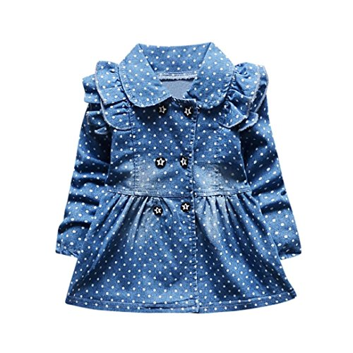 SHOBDW Girls Dresses, Toddler Baby Ruched Dot Stars Print Long Sleeve Princess Denim Dress Spring Outfits