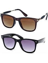 Younky Unisex Combo Pack Of UV Protected Branded Wayfarer Stylish Brown Mercury Sunglasses For Men Women Boys...