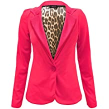 Envy Boutique – mujer un botón frontal Animal forro estampado rayas talla perchero de pared de Blazer chaqueta 8 – 14