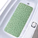 """Kuber Industries Flower Design PVC Bathroom Mat with Suction Cups - 28""""x15"""", Green"""