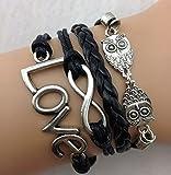 Leder Armband Wickelarmband Vintage Freundschaft Lederarmband Infinity Love NEU (Modell 5)