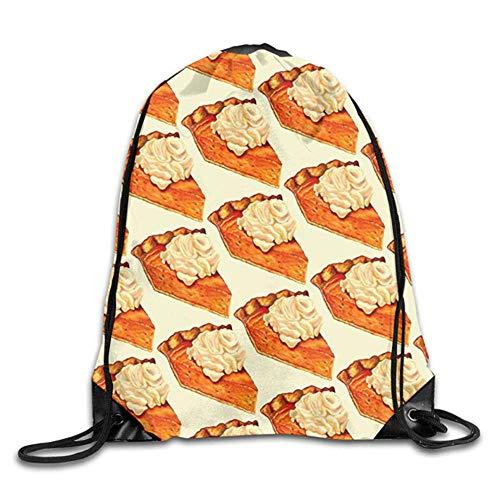 HLKPE Pumpkin Pie Pattern Food Fall Autumn Cute Gym Drawstring Bags Travel Backpack Tote School Rucksack -