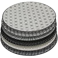 Ard'time EC-6KOAS26 Komaé Lot de 6 Assiettes porcelaine Noir/Blanc 26 x 26 x 2 cm
