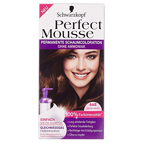 Perfect Mousse (Schwarzkopf Perfect Mousse permanente Farbe Stufe 3, 668 Haselnuss)