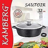 Kamberg - 0008042 - Sautoir 32 cm - Fonte d'Aluminium - Revêtement type pierre - Couvercle en verre - Tous feux dont induction - Sans PFOA