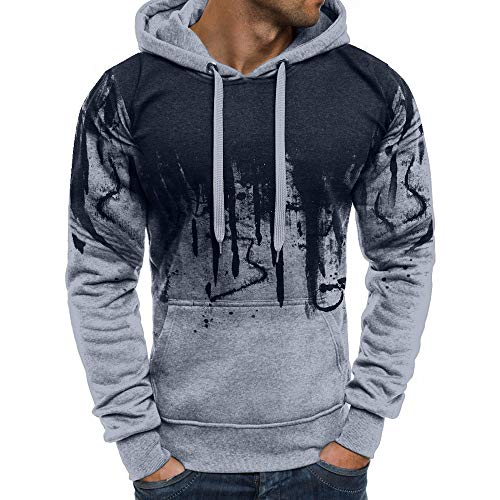08f3ff32ec32 TPulling Hommes T-Shirt Manches Longues Hommes Casual Automne Hiver Couleur  Gradient Pull Couture Sweat