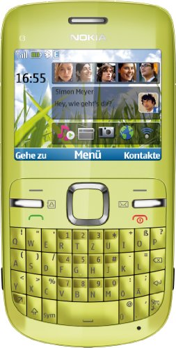 Nokia C3-00 Smartphone (6.1 cm (2.4 Zoll) Display, Bluetooth, 2 Megapixel Kamera, QWERTZ-Tastatur) lime green