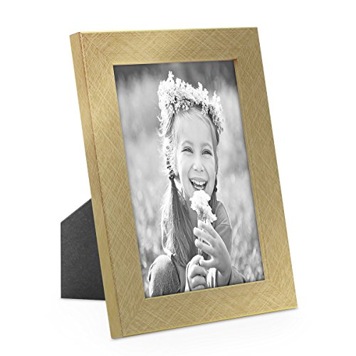 Bilderrahmen 10x15 cm Gold Modern Massivholz-Rahmen mit Glasscheibe inkl. Zubehör / Fotorahmen (Gold-bilderrahmen 10 X 13)