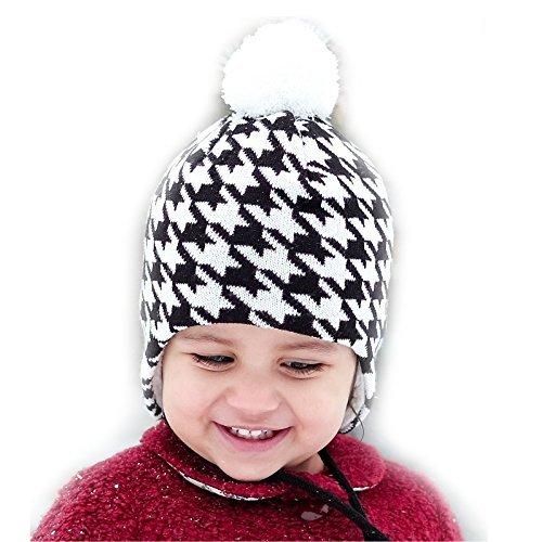 Bequeme Baby Strickmütze Hut für Herbst Winter, Ohrenschützer (L: 2 - 6 Jahre, Pepita Muster)