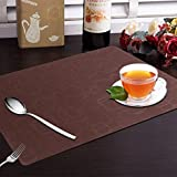 #7: Yellow Weaves™ 6 Piece PVC Dining Table Placemats - Brown