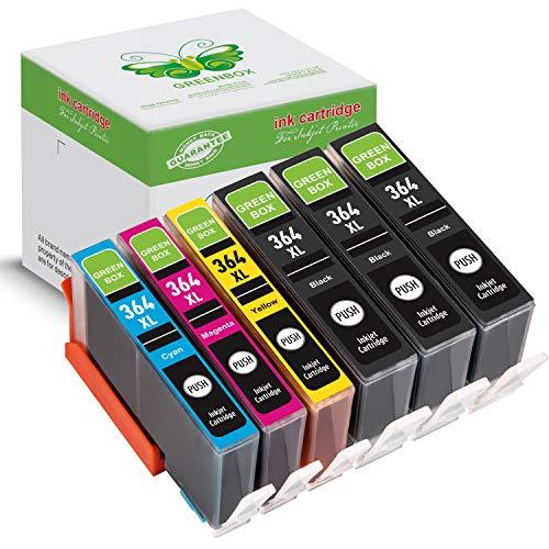 6 Packung GREENBOX Kompatibel HP 364 364XL Tintenpatronen Ersatz Kompatibel mit HP Photosmart 6510 6520 5510 5515 5520 5522 6524 7510 7520 B8550 C5388 D5460 (3 Schwarz, 1 Cyan, 1 Magenta, 1 Gelb)