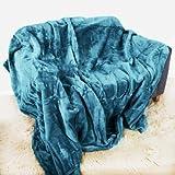 Teal Überwurf, Tagesdecke, weiches Plüsch, groß, 150 cm x 200 cm, passend für Double Size Bett oder 2er Sofa Schlafsofa Tischläufer, Tagesdecke, Kuscheldecke von Quality Linen and Towels