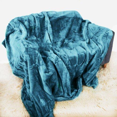 Bleu sarcelle/couvre-lit en peluche douce/vison Taille L 150 x 200 cm-Pour lit Double ou canapé 2 places Couvre-Quality Linen and Towels