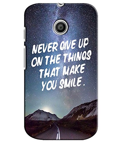 EU4IA Never Give Up Quotes PRINTED MATTE FINISH Back Cover Case For MOTOROLA MOTO E 2ND GENERATION - D286  available at amazon for Rs.299