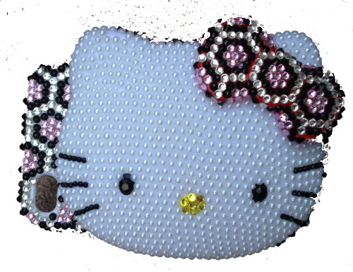 Hello Kitty Bling Rosa Leopard 3D Handgefertigt Kristall & Faux Pearl iPhone 4Case/Cover von Jersey Bling
