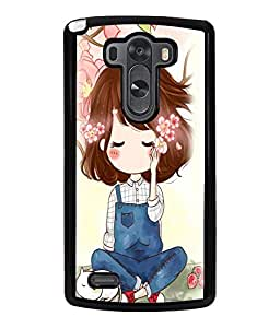 Printvisa Cute Girl Sitting Under A Tree Back Case Cover for LG G3::LG G3 D855