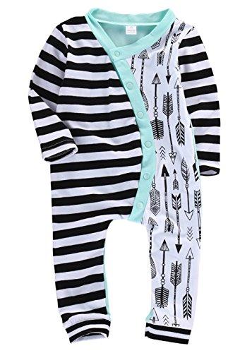 CANIS Jungen-Mädchen-Pyjamas halber gestreifter halber Pfeil-Spielanzug-Bodysuit-Ausstattung (9-12 Monate)