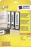 Avery Zweckform L4705-20 Premium Design 2in1 Ordner-Etiketten, blickdicht, 288 x 38 mm, 20 Blatt/80 Etiketten, weiß, grau