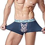 CHIC-CHIC Herren Boxer Shorts Unterwäsche Unterhose Kätzchen modern Cat underwaer Elastisch Pants Retroshorts (EU44-46, Dunkel Blau)
