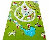 Little Helper 101MD011YETZ10152 IVI Hypoallergener Dicker 3D-Kinderspielteppich, 100 x 150 cm, mehrfarbig mit türkisfarbenem See