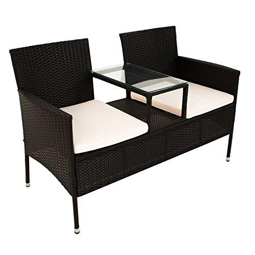 Polyrattan Gartenbank Monaco mit integriertem Tisch für 2 Personen