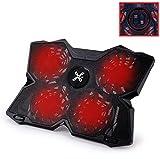 Takit S03 - Refroidissement pour PC Portable 11 à 17 Pouces - 4 Ventilateurs - 1200 TR/min - Vitesse Réglable - Noir avec Diodes Rouge