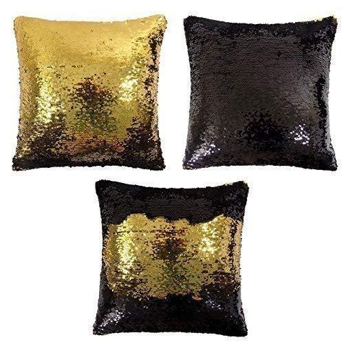 gefüllt luxuriösem doppelt Flip Pailletten Gold Schwarz Dick Samt Kissen 43,2cm-43cm -