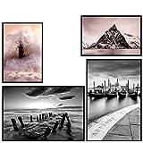 decomonkey | Poster 4er - Set schwarz-weiß Abstrakt