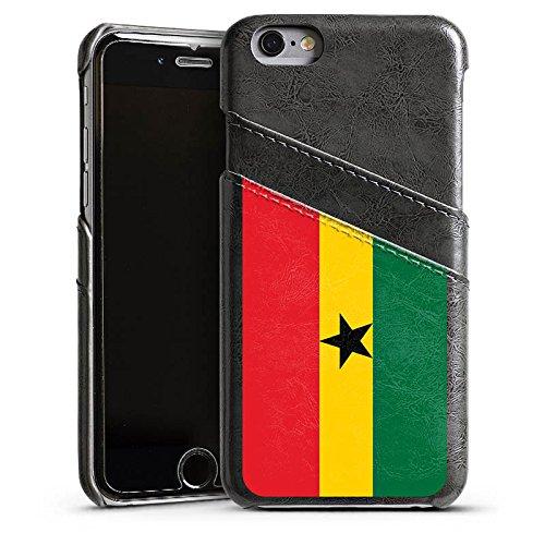 Apple iPhone 5s Housse Étui Protection Coque Ghana Drapeau Ballon de football Étui en cuir gris