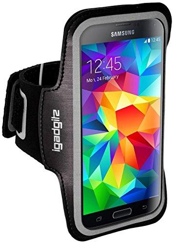 igadgitz Reflektierenden Anti-Rutsch Schwarz Sports Jogging Armband Laufen Fitness Oberarmtasche für Samsung Galaxy S5 SV MINI SM-G800F Mit Schlüsselfach