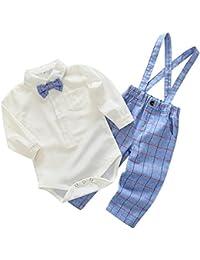 Feoya Baby Jungen Bekleidung Set Festliche Kleidung Baumwolle Hemd Hose Hosenträger Taufanzug Gentleman Anzug Fliege Kinderbekleidung