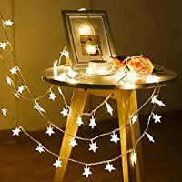 amilses Home Bedroom Star Geometric Warm LED Curtain Light Strip Outdoor String Lights