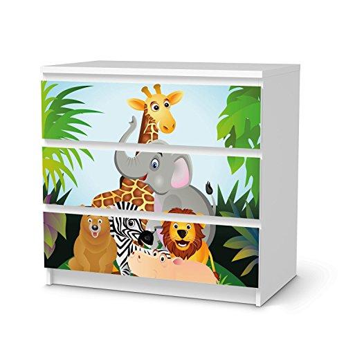 Home 4 Schubladen Kommode (creatisto Möbel-Folie Sticker für IKEA Malm 3 Schubladen I Dekoraufkleber Design Möbelfolie selbstklebend I Zimmer stylen Wohnidee I Design Motiv Wild Animals)