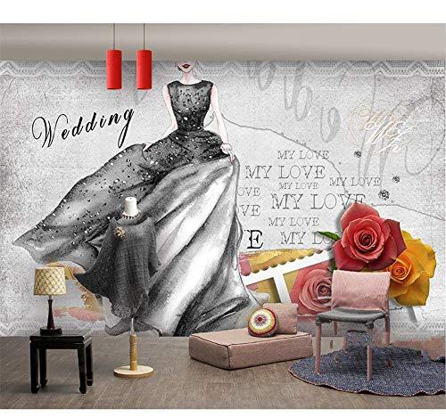 CFLEGEND Negozio Di Abbigliamento Da Donna Sfondo Pittura Murale Negozio Per Unghie Negozio Di Abiti Da Sposa Negozio Di Abbigliamento Carta Da Parati Carta Da Parati Decorazione (W) 450X (H) 300Cm
