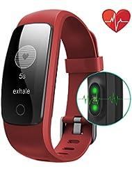 bonebit V2GPS fitnesstracker reloj con Monitor de frecuencia cardiaca [múltiples modos de deporte] pulsera inteligente actividad Tracker, salud pulsera/reloj inteligente/deporte podómetro/contador de calorías/cronómetro/Sleep Tracker/Control de la música/mensaje pantalla OLED de alerta de tiempo resistente al agua reloj de alarma para android, iPhone iOS Smartphones, 107 Plus Hr, rojo