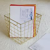 storeindya Square Wire Basket Rose Gold Plated Metal Wire Storage Container for Office Stationary Kitchen Bathroom Supplies