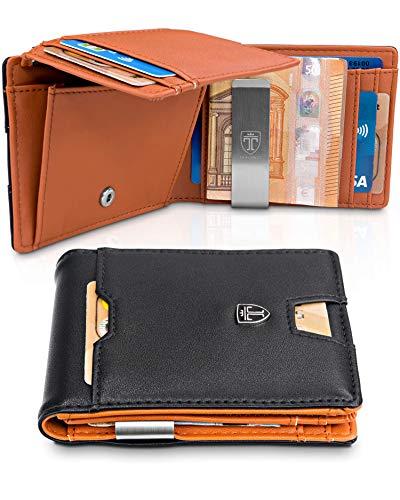 Männer mit Geldklammer Brisbane Geldbörse Portmonaise Herren Slim Portemonnaie Wallet Geldtasche klein Portmonee RFID Schutz Kreditkartenetui Brieftasche Kartenetui Geldclip Etui ()
