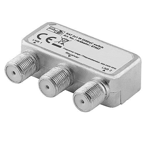 Digital Sat Schalter Umschalter für Satelliten-Anlagen/DiSEqC 2.0/1 Receiver Anschluss und 2 LNB Anschluss/geeignet für 3D SD HD FullHD UHD 4K / Metallausführung