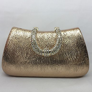 pwne Frauen Abend Tasche Metal All Seasons Event / Party Hobo Push Lock Silber Schwarz Gold Champagne Champagne