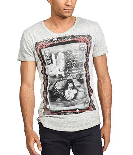 trueprodigy Herren T-Shirt Rundhals Ausschnitt Dunkelgrau Kurzarm Slim Fit