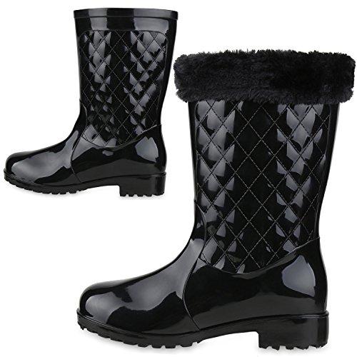 Warm Gefütterte Stiefel | Damen Gummistiefel | Kunstfell Gesteppt | Wasserdichte Schuhe Lackleder-Optik| Winter Boots | Regenschuhe Schwarz