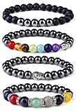 Milacolato 4 Pack Chakra Hämatit Armband Heilung Magnetfeldtherapie Stretch Stein Perlen Armband...