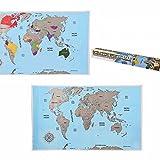 Mappa del mondo da grattare da parete cartina geografica mappamondo poster 88x52 cm E62