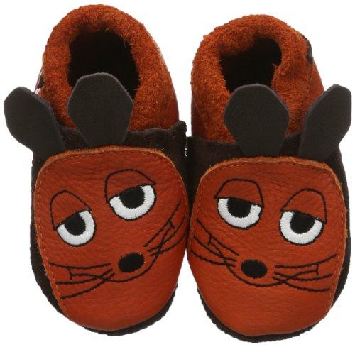 Pololo POLOLO Maus, Unisex-Kinder Flache Hausschuhe, Braun (castagno/orange 603), 26/27 (Kinder Schuhe Der)