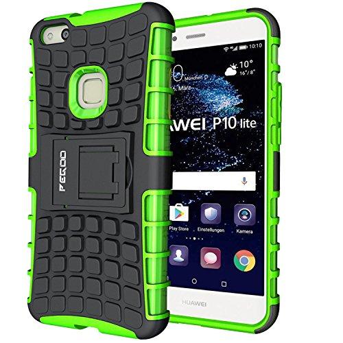 Custodia Huawei P10 lite,Pegoo Cover Huawei P10 lite Ultra Slim armatura antiurto Copertura Cassa Custodia Silicone cover Case supporto stabile Protettiva Shell per Huawei P10 lite (Verde)
