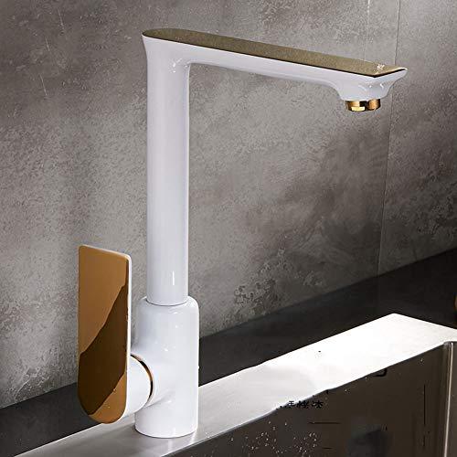 Preisvergleich Produktbild Kitchen Sink Wasserhahn,  Küchenarmaturen Kupfer Sink Wasserhahn rotierenden heißen und kalten Wasserhahn europäischen und amerikanischen Farbe schwarz und weiß Gold