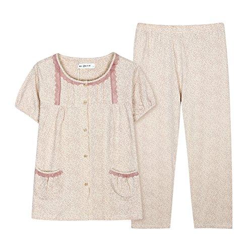 estate pantaloni maniche corte girocollo pigiama/ pigiama di cotone ladies/Sottile servizio a domicilio Cardigan in estate Kit C