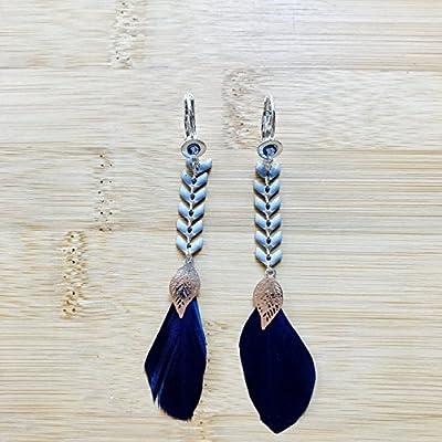 Boucle d'oreilles plumes bleu marine avec cristaux Swarovski