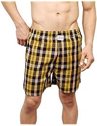 Neska Moda Men's Premium Elasticated Cotton Yellow Boxer With 1 Back Pocket-MFN-XB81