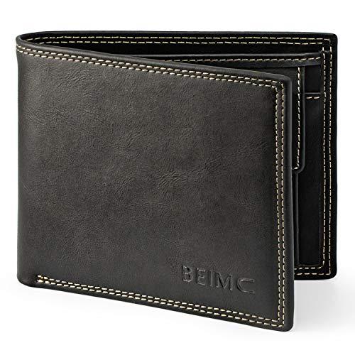 Geldbörse Herren Geldbeutel Männer RFID Schutz Portemonnaies Männer aus Vintage-Echtleder Portmonee Portmonaie Geldtasche Geldbeute Brieftasche mit Doppelnaht